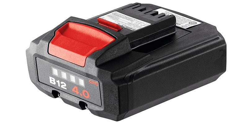 Hilti 12 volt range of batteries
