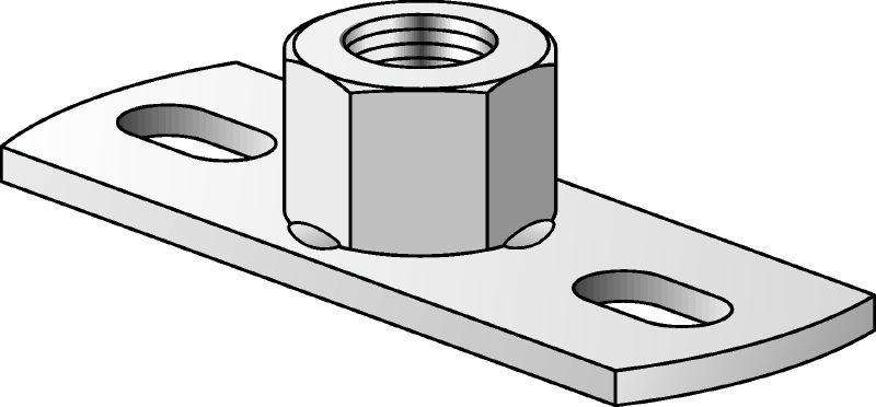 MGL 2-R Stainless steel (A4) light-duty base plate to fasten metric threaded rods with two anchor points