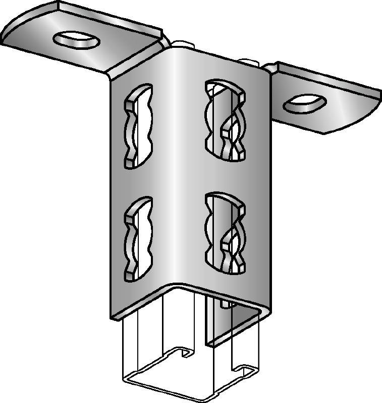 MQV-R Stainless steel (A4) channel connector used as a longitudinal extender for MQ strut channels