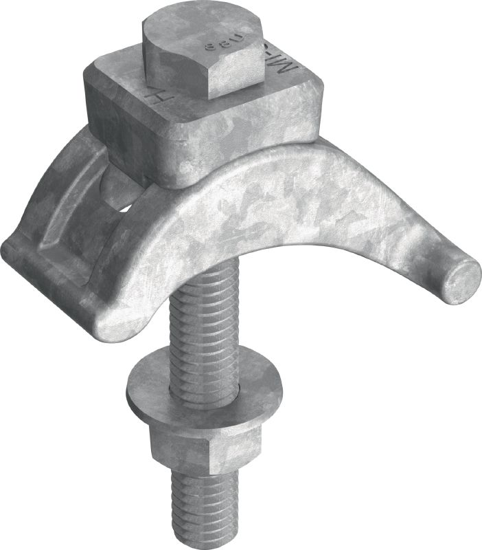 MI-SGC M12 Hot-dip galvanised (HDG) single beam clamp for connecting MIQ steel baseplates to steel beams