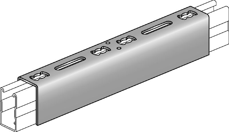 MQV Galvanised channel connector used as a longitudinal extender for MQ strut channels