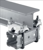 MI-DGC Hot-dip galvanised (HDG) double beam clamp for connecting MI girders to steel beams for heavy-duty applications