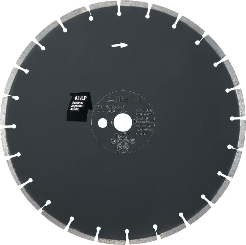 Floor saw blade asphalt A1/LP Premium floor saw blade (5-18 HP) for floor sawing machines – designed for cutting asphalt
