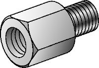 GA Galvanised thread adapters to connect various internal and external thread diameters