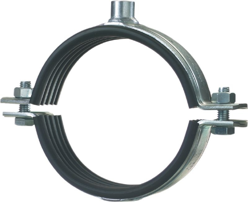 MP-MXI-F Premium hot-dip galvanised (HDG) pipe clamp with sound inlay for extra-heavy-duty piping applications