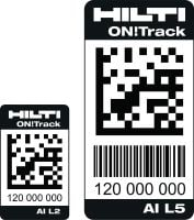 AI L2 and AI L5 Robust, self-adhesive barcode tags for identifying and tracking all types of construction equipment