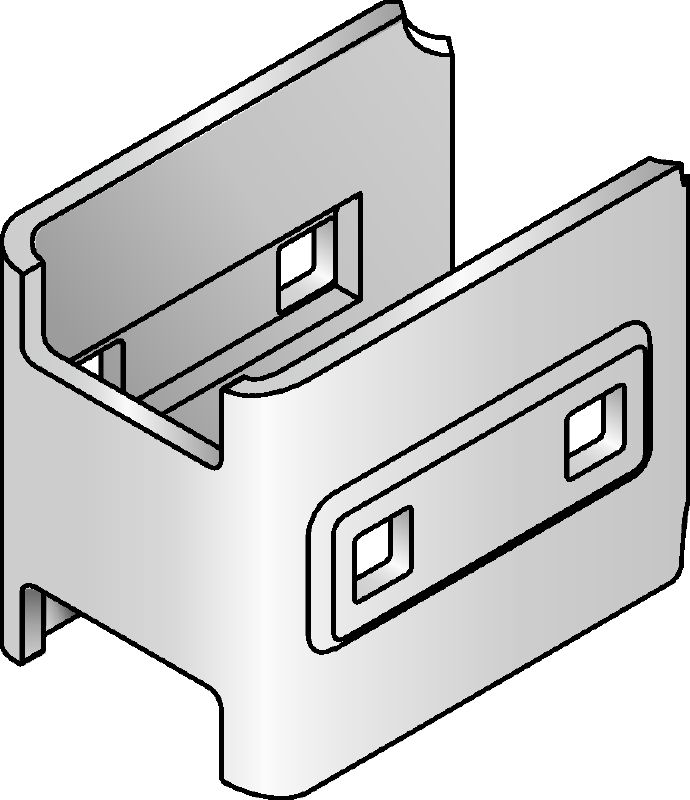 MIQC-SC Hot-dip galvanised (HDG) connector used with MIQ baseplates that allow for free positioning of the girder