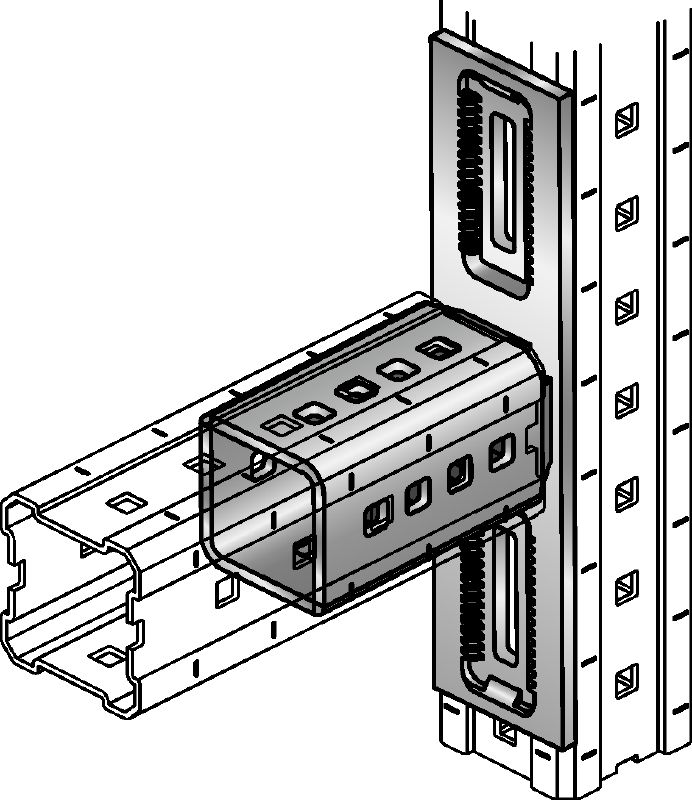 MIC-L Hot-dip galvanised (HDG) connector for fastening MI girders perpendicularly to one another