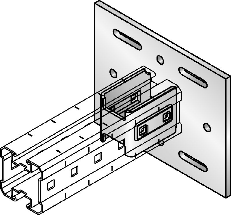 MIQC-S Hot-dip galvanised (HDG) baseplate for fastening MIQ girders to steel for heavy-duty applications