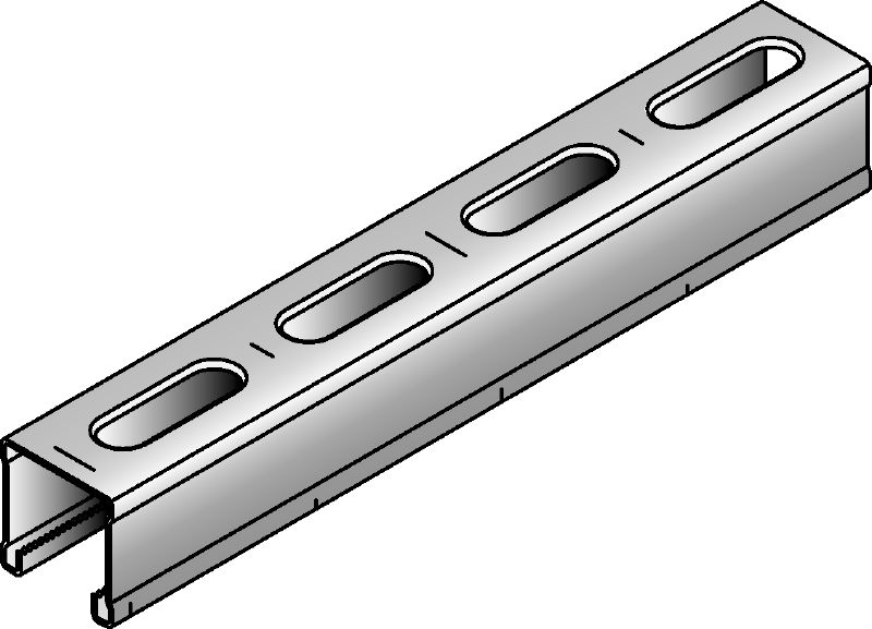 MM-C-30 Galvanised 30 mm high MM strut channel for light-duty applications