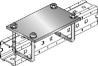 MIC-PA Hot-dip galvanised (HDG) connector for fastening pipe shoes to MI girders for heavy-duty applications