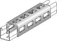 MQV-F Splice clevis Hot-dip galvanised channel connector used as a longitudinal extender for MQ strut channels