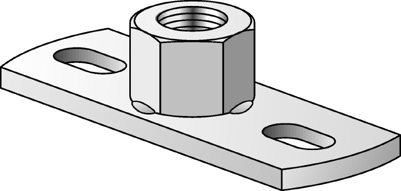 MGS 2 Galvanised medium-duty base plate to fasten metric threaded rods with two anchor points