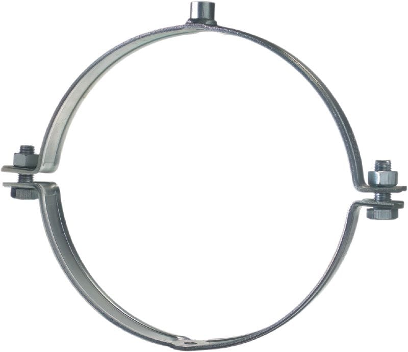 MP-MX-F Standard hot-dip galvanized (HDG) pipe clamp without sound inlay for extra heavy-duty piping applications (metric)